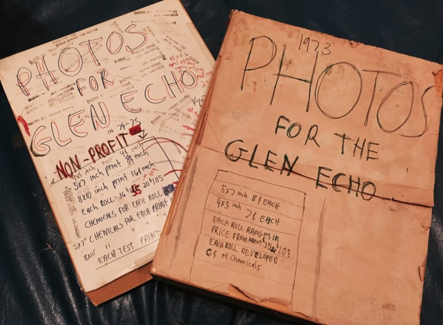 Ken Kerbs stores his photos in boxes with the prices for prints labeled on top. Before he became Photo Editor, he would get reimbursed by The Glen Echo for the prints he made.