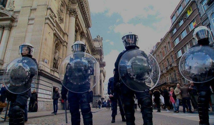 A picture taken by Ken showing Belgium police in riot gear after the attack in Brussels. While Ken gets to travel to beautiful places, he also has to take photos of more dangerous situations as well.