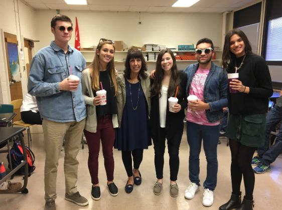 Josh Frissora, Victoria Rasmussen, Victoria Small, David Martinez, and Nikita Eglis all dressed up as Comarato for Glen Rock's Student Teacher Day