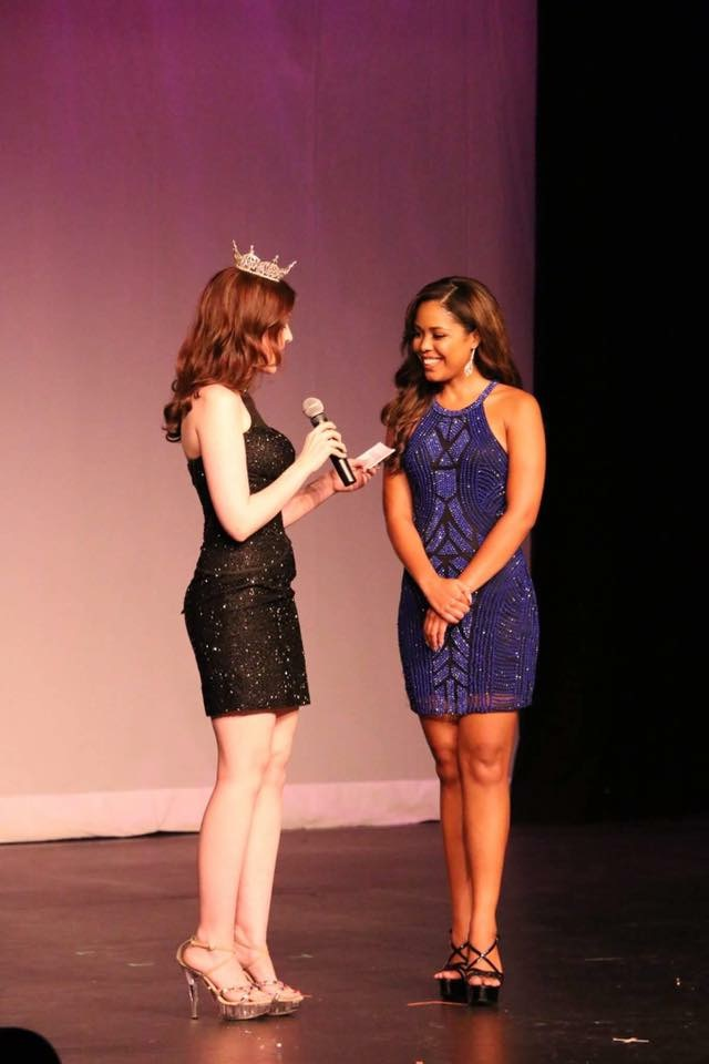 Celinda Ortega introducing herself at the Miss Bergen County 2017 pageant. Ortega's Miss New Jersey pageant will take place in the same location of Ferrari's.