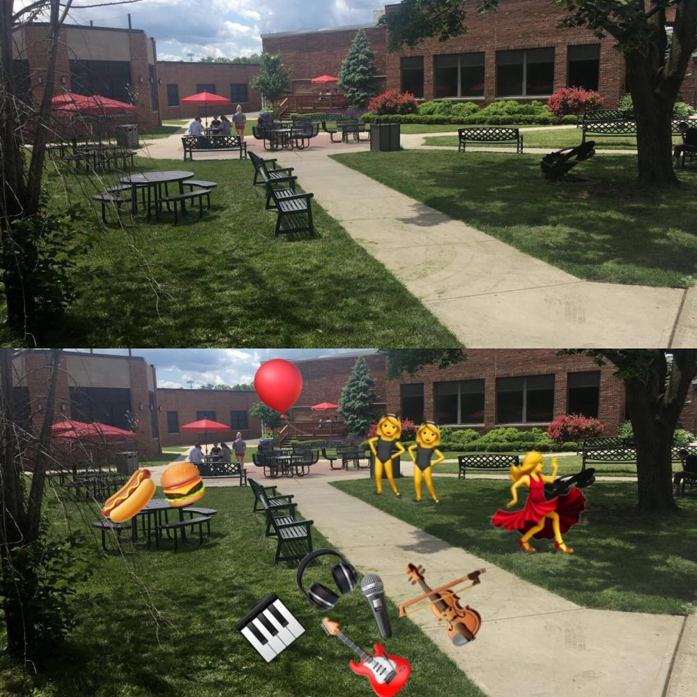 The first photo is what the court yard looks like now, and the second photo is what the court yard will look like on June 7.
