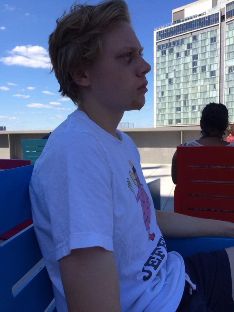 Quinn looks out across the New York skyline atop one of his favorite NYC destinations, the Whitney Museum of Modern Art. Quinn and his close friends Mia Seibold, junior, made the trip in honor of his sixteenth birthday.