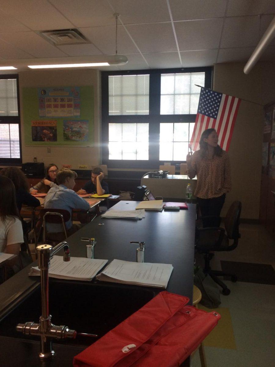 Science teacher Lillian Nichols teaches her freshman biology class in room S114 on September 26.