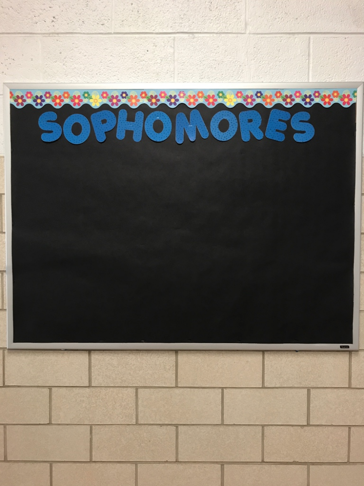 Waiting for news and events, the sophomore bulletin board is ready for the new school year.