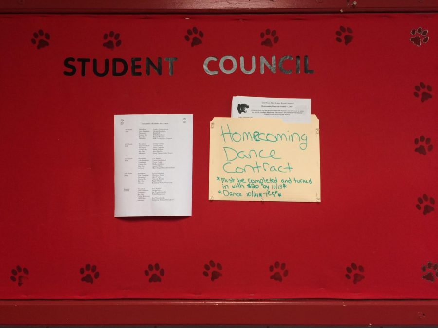 The Homecoming Dance Contracts posted on the Student Council Bulletin Board outside of the main office. The forms went quickly, and the folder was empty by Friday, Oct. 13.