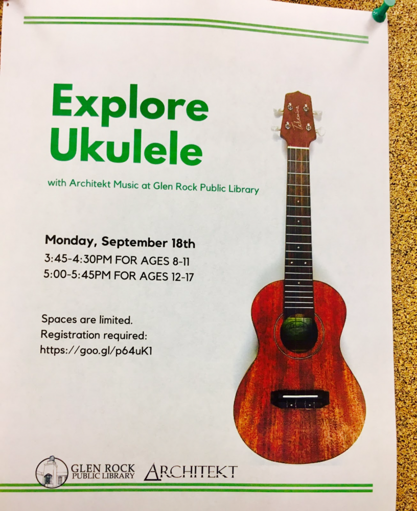 Children and teens learn how to play the ukulele at the Glen Rock library.