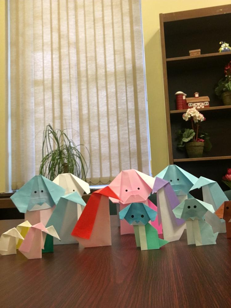 Finished origami penguins lined up together, taught by John Blackman at the Glen Rock Public Library on Sep. 14, 2017