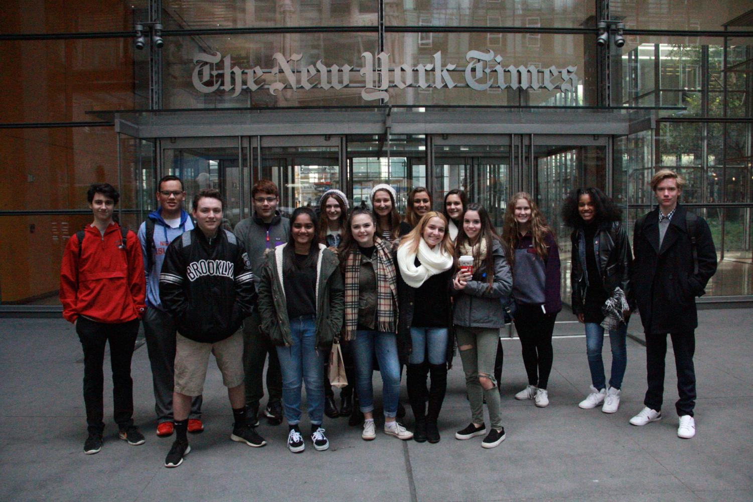 The senior staff of the Glen Echo traveled to New York City for a tour of the New York Times. They toured the offices and the morgue, and also had the opportunity to ask questions to a 29 year New York Times reporter.