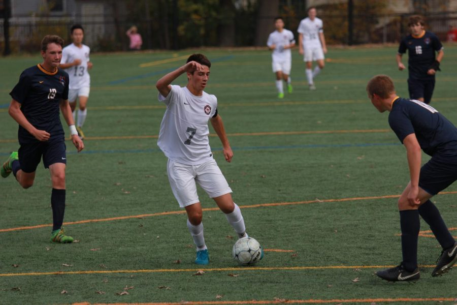 Nick+Rogers+keeps+the+ball+in+possession+against+Pequannock+in+the+second+round+of+the+NJSIAA+Tournament.++Despite+losing+the+boys+varsity+soccer+team+played+one+of+their+best+seasons+in+30+years.+