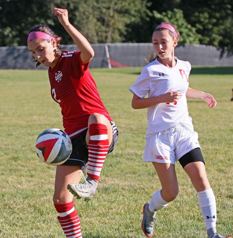 Olivia Trapaghen steals the ball during a Varsity game from 2017.