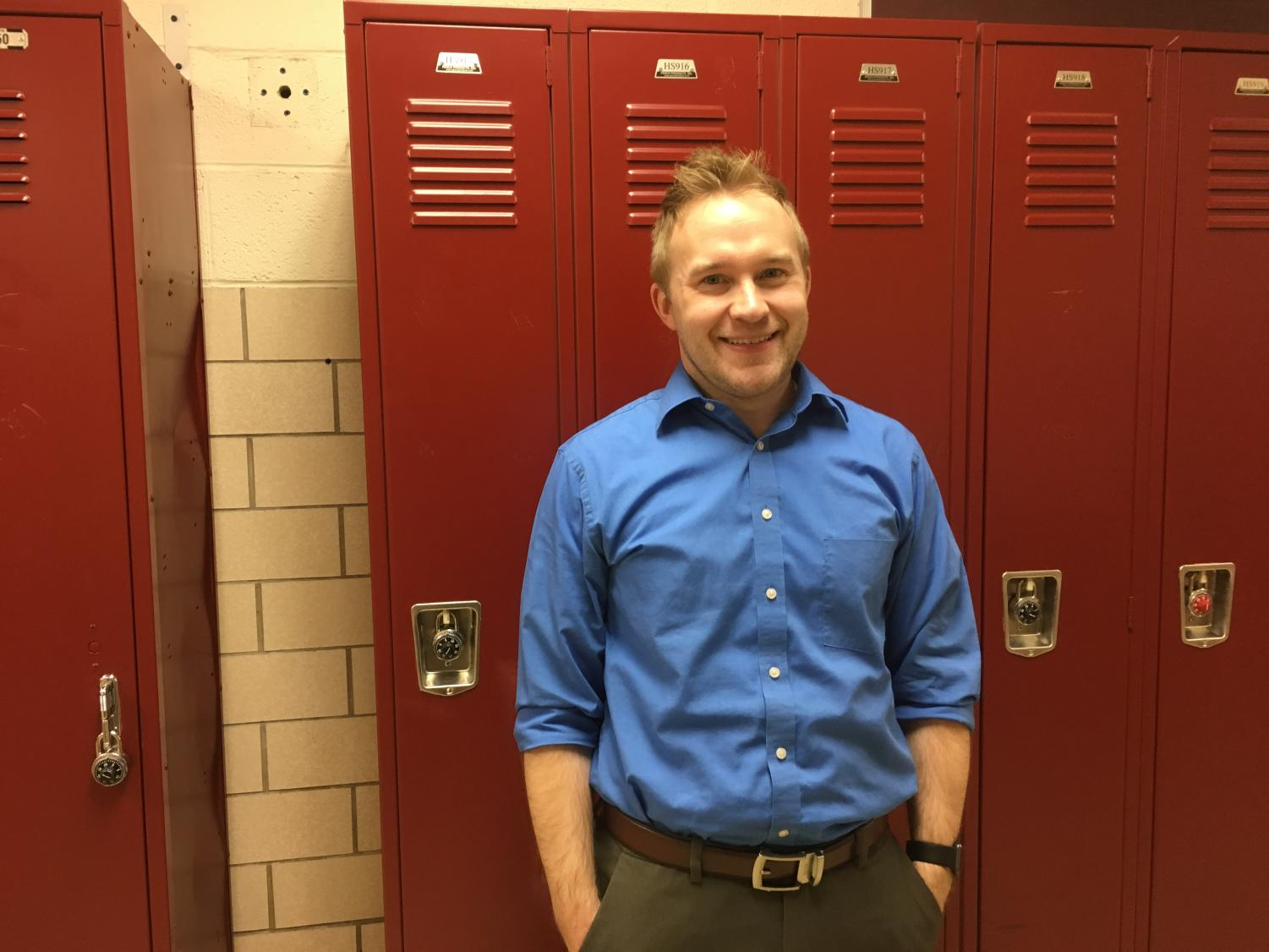 History teacher Tom Lyon poses in the halls of Glen Rock High School on Feb. 6.