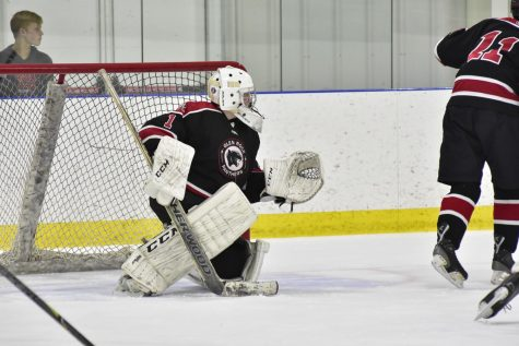Ryan McAuley looks to make a save for Glen Rock, as Glen Rock defeated Lakeland 4-2.