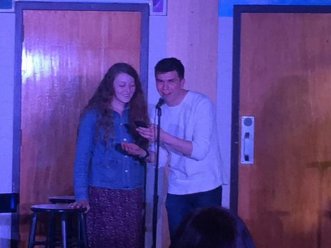 Emcees Madie Jones and Luke Blomstrom introduce the next act. Both Jones and Blomstrom also performed.