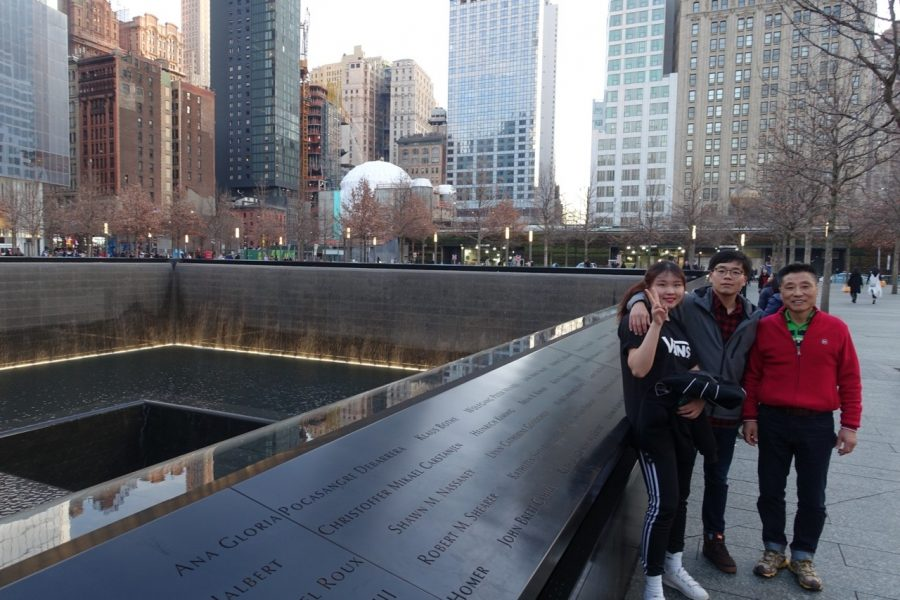 Hailey and her family is posing at New York next to the twin towers. Kim was happy to be in New York with her family, speaking Korean and eating Korean food with them.