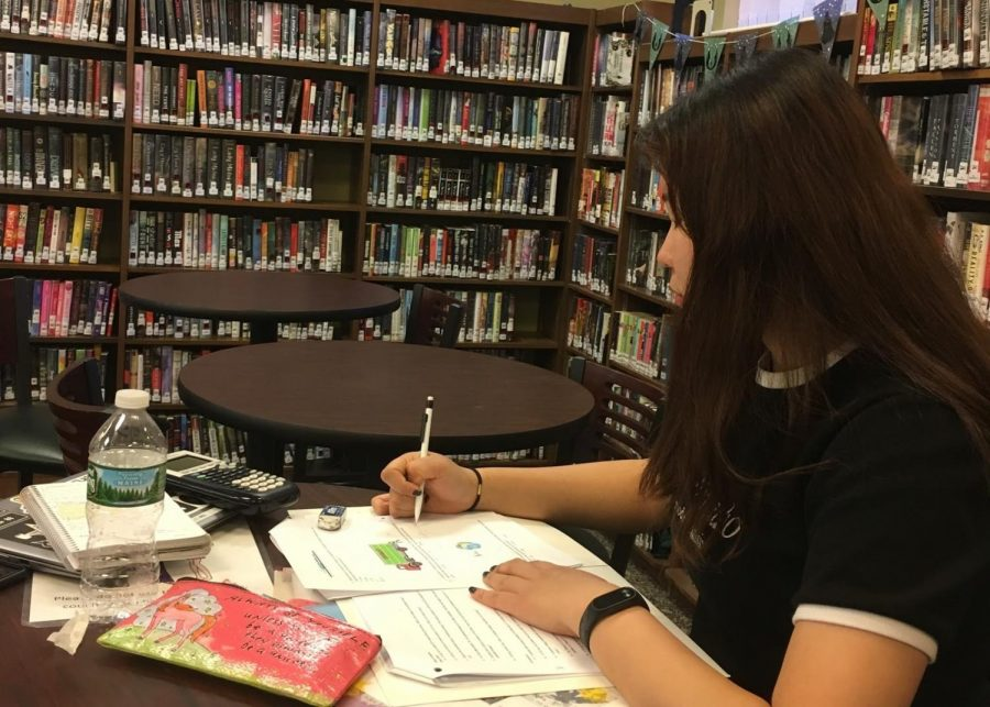 Hailey is studying in the Glen Rock Public Library. The library is the place where Hailey spent lots of time for studying when she first moved to America.