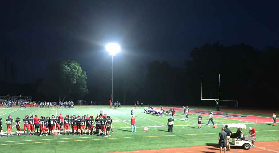 Glen Rock defense look to stop from Garfield from getting in the endzone