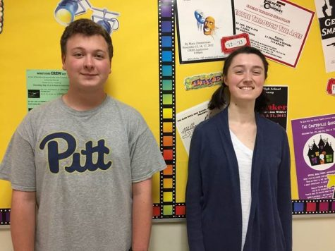 Seniors Andrew Bober and Zoe Shea pose in front of the Theatre Company bulletin board. They are playing Mr. Darcy and Elizabeth Bennet. The bulletin board has been redecorated this year by Theatre Company students.