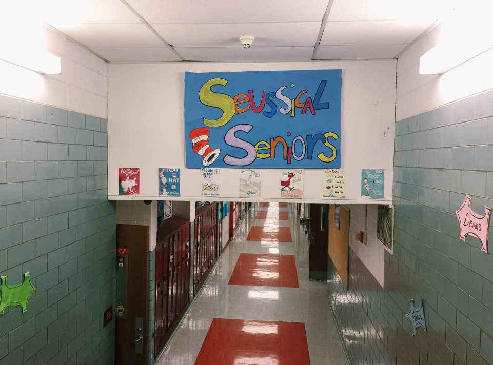 The seniors' homecoming decorations hang in their hallway. Their theme is Seussical Seniors.