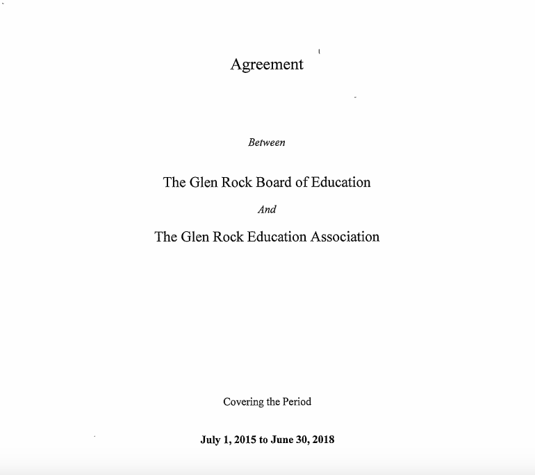The Glen Rock Education Association and Board of Education contract agreement cover page notes the June 30, 2018 expiration date. Since then, the parties have not established a successor contract.