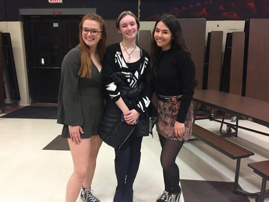 From left to right, senior Möbius editors Cat Merkle, Caroline Geoghegan, and Rachel Goldberg pose following the successful Coffeehouse 45.  All three have been staff editors of Möbius before, with Goldberg acting as the Prose Editor and Merkle and Geoghegan acting as the Assistant Editors in Chief for the 2017-2018 school year.