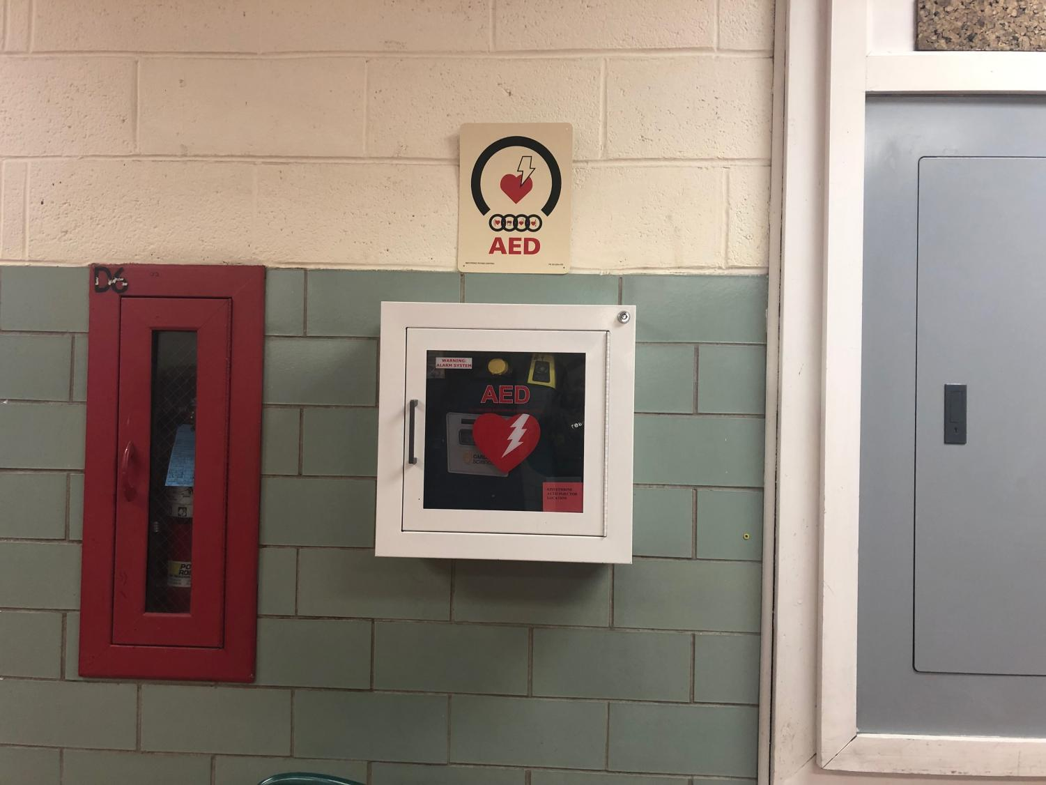 The AED helps students and teachers who are having medical issues. This AED was loaded with materials needed for emergencies, such as drug overdoses, heart attacks, seizures, and allergic reactions.