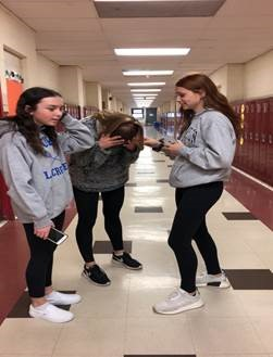 Freshman Abby Mccarthy (left), Kaylee Doyle, and Allie Eisenberg are affected by the stress of tests and quizzes. They have learned to openly express their anxiety about countless assignments from different classes, but it is not enough.