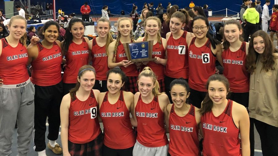 Here is a picture of the Winter Track Girls Team posing after their victory at Sectionals.