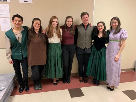 "The cast of Rapunzel poses with their student director, Isabel Siggers. Siggers is a senior and a member of the Theatre Company Executive Board and was excited to take on her role as a student director for ""Wicked and Whimsical."""