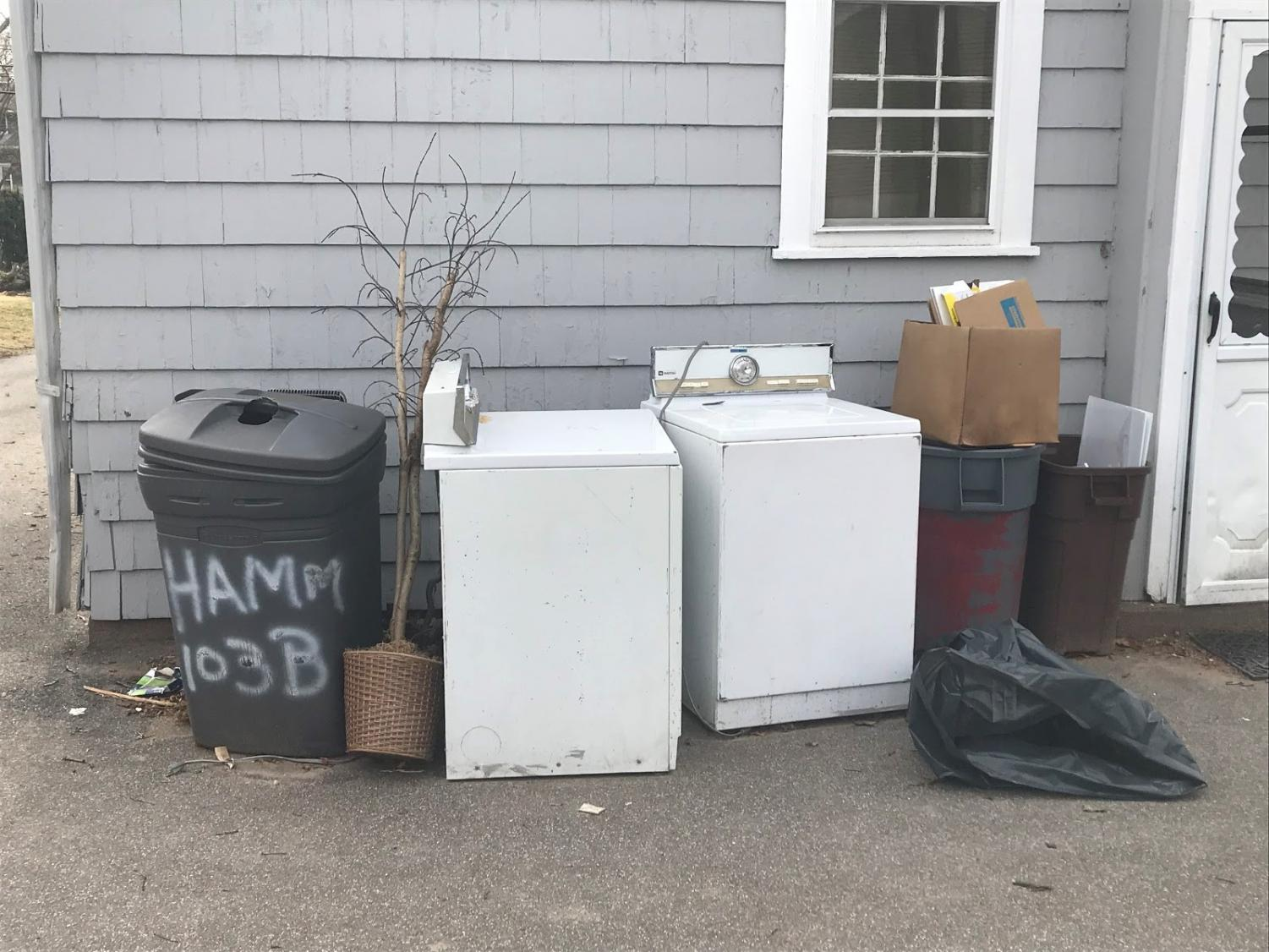 Household trash left outside and abandoned. This can cause the releases of chemicals.