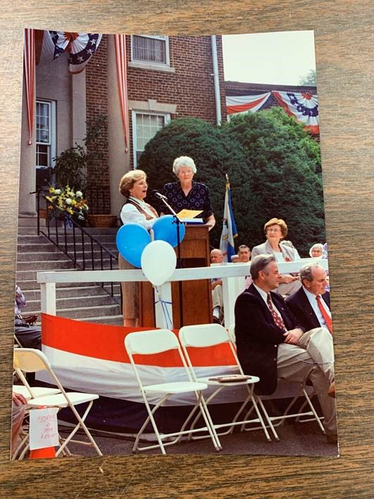 Mayor Marge Roukema and her Assistant Supervisor Jackie Kort are honoring the 100th anniversary of Glen Rock at Incorporation Day, 1994 by performing a ceremony explaining the history and background to the event.