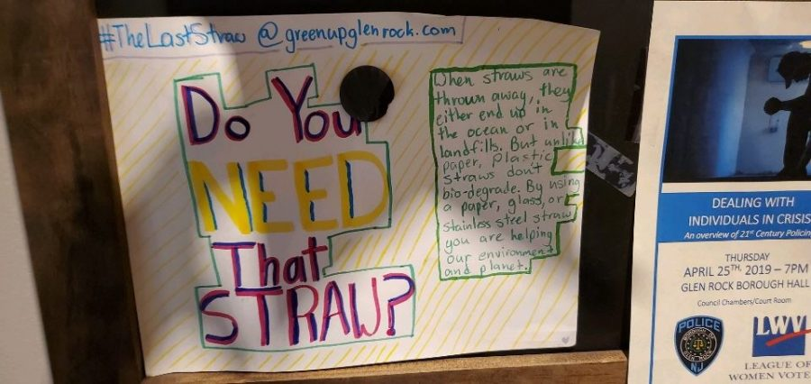 A poster outside Glen Rock's Starbucks. The sign informs on the harm signs cause.