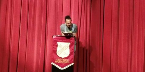 "Nationally recognized poet Ross Gay reads his poetry during an assembly. Gay visited GRHS on April 10 to present his poetry, host a writing workshop, and meet GRHS students and others from a visiting high school. Gay presented some of his poems along with some essays from his new book, ""The Book of Delights."""