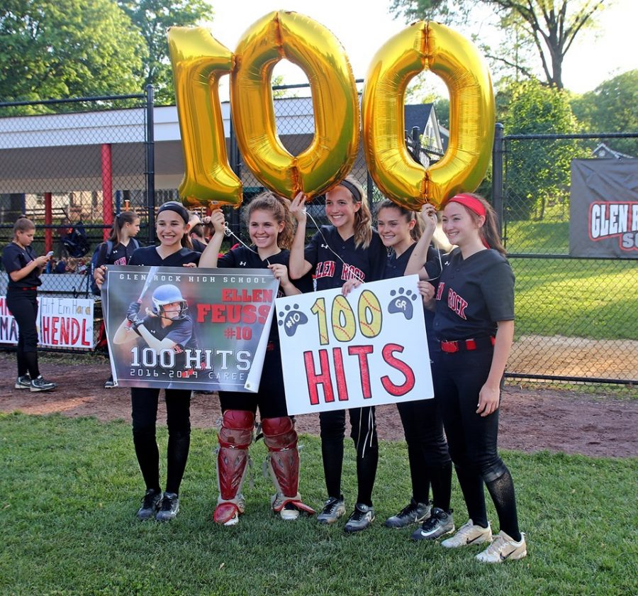 Here is Ellen posing with her teammates including Sophia Brencovich, Colette Quiggly, Taylor Rogers, and Nori Tsiang (left to right) as she is celebrating 100 hits at bat on Senior Day. This day is a memory Feuss made it clear she will never forget and cherishes those who helped out to celebrate her success.