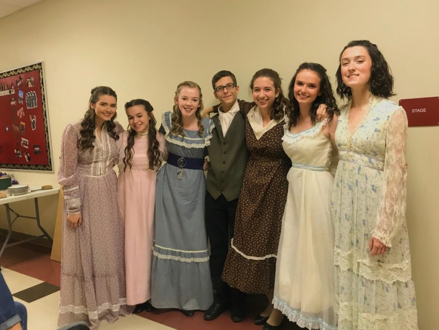 Caroline Torpey (far left) poses backstage with her castmates during last year's fall production of Pride and Prejudice.  As a veteran of the Glen Rock Theatre Company, she has performed in every possible production the group has put on.