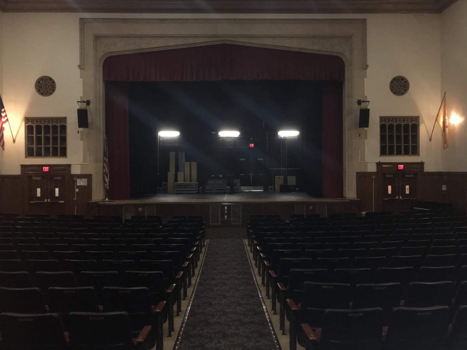 Set supplies on stage for fall theater production.