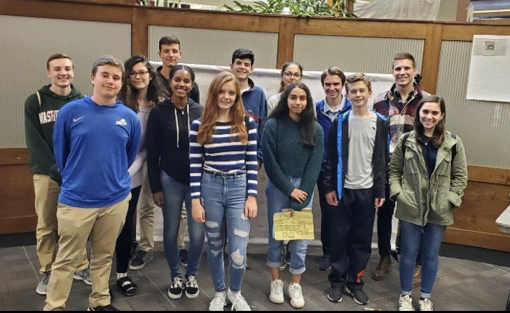 The Glen Echo poses for a photo during the Garden State Scholastic Press Association's Fall Student Press Day Conference at Rutgers University.