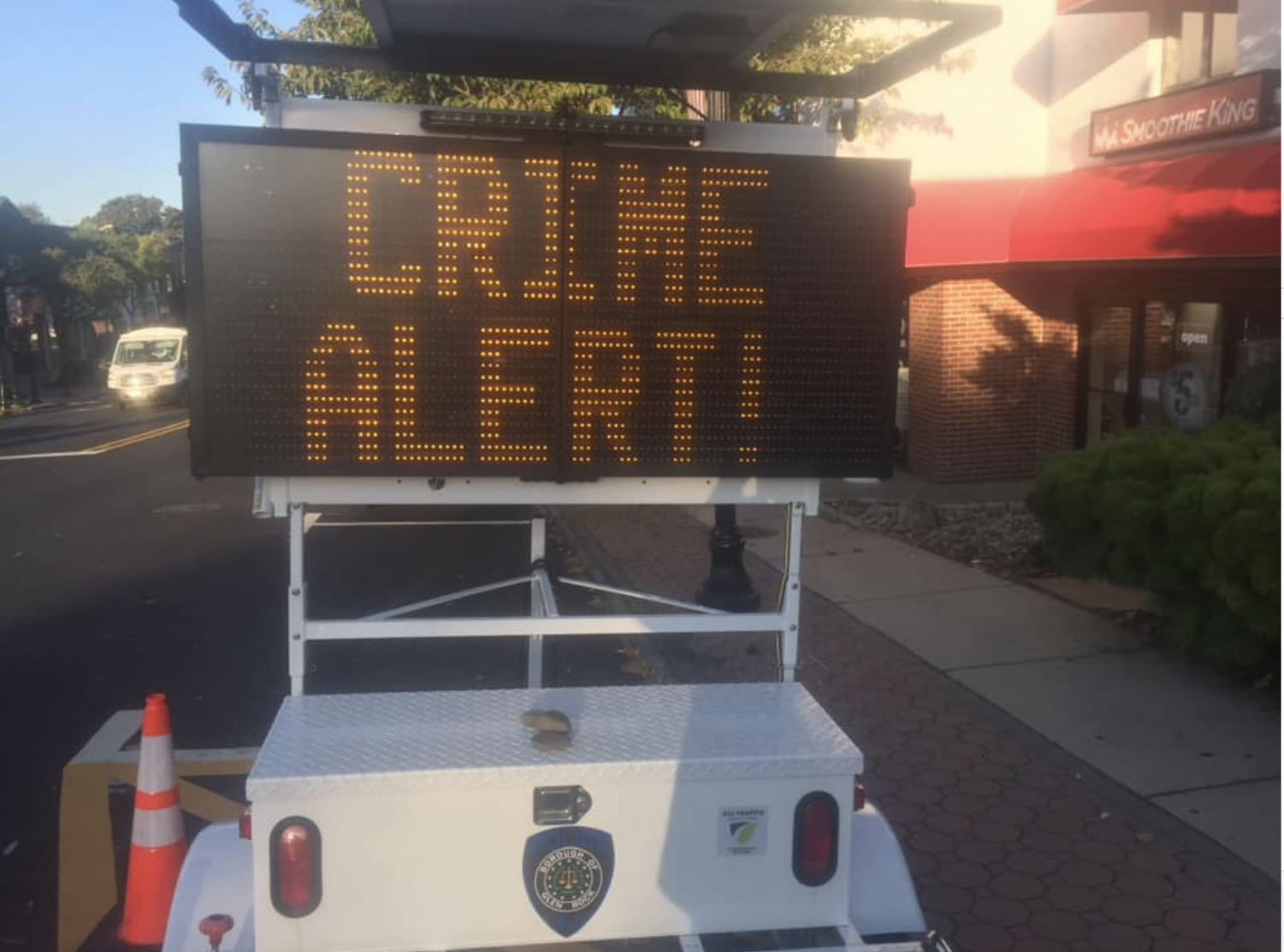 As part of the Glen Rock Police Department's effort to combat recent vehicle crimes, a digital sign warns of vehicle theft in downtown Glen Rock.