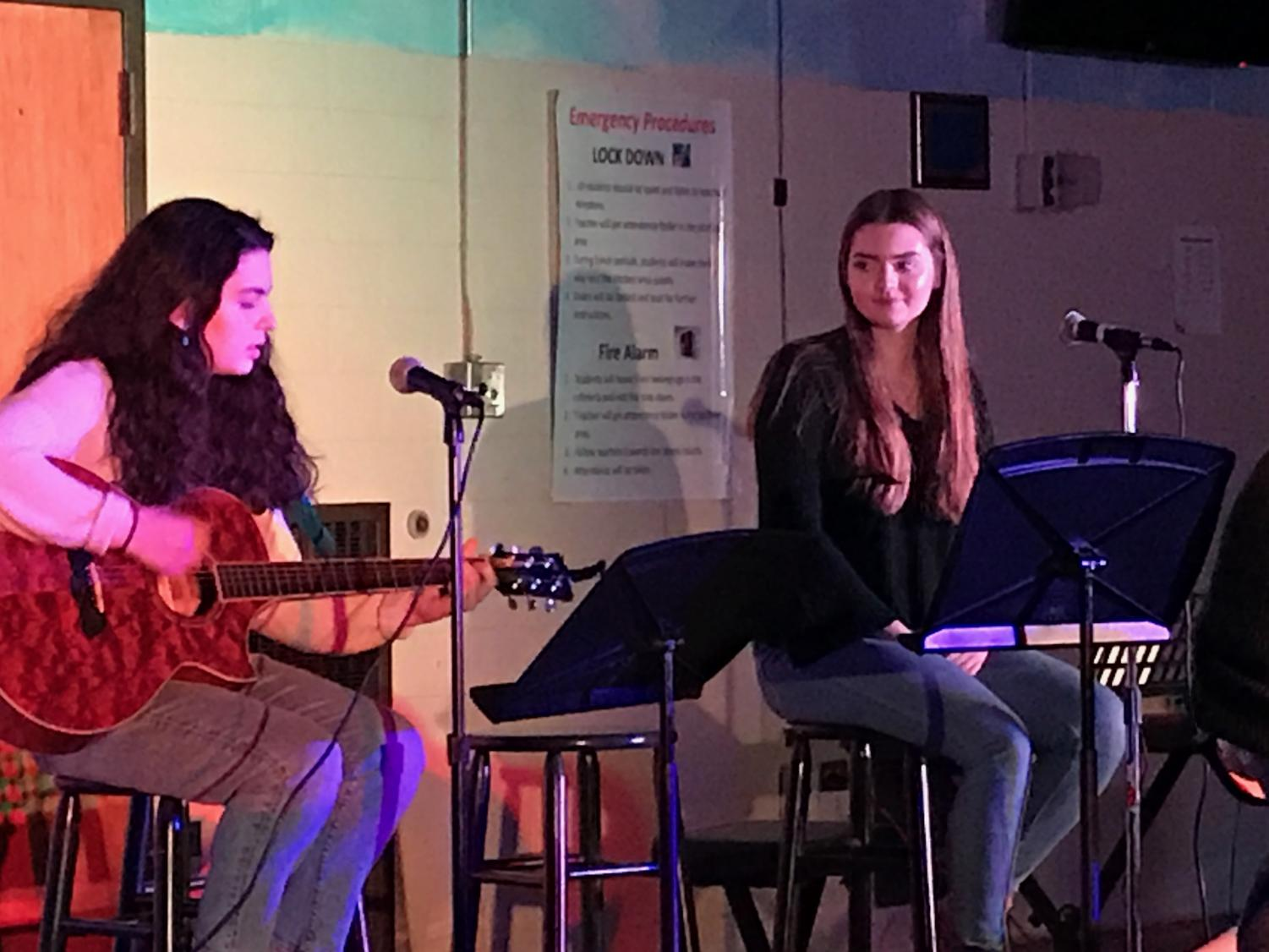 """Caroline Torpey and Sofia Nolfo perform together for the fourth year in a row, singing """"Mercy.""""  The duo has been friends since elementary school, and has shared their love of music together over the last decade."""