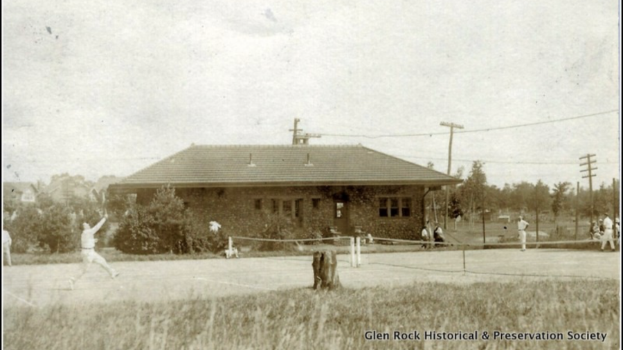 Public tennis courts are displayed behind the Glen Rock-Main Line station, circa 1917. This photo is used with the permission of the Glen Rock Historical & Preservation Society and it cannot be used or reproduced without permission from the Society.