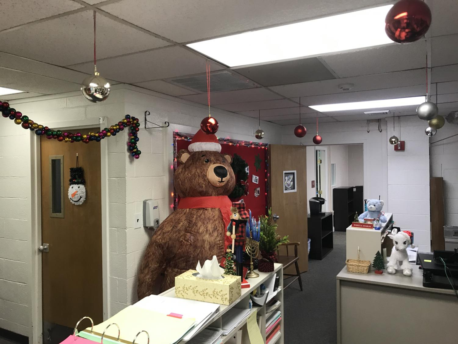 The+inflatable+bear+in+the+attendance+office.+