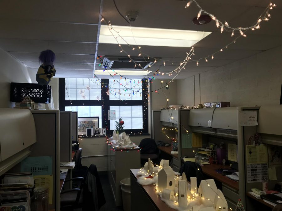 The Art Department set up a little village with lights on the ceiling.