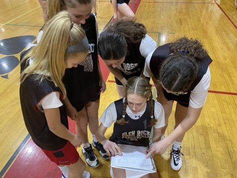 Abby teaching the incoming freshman the offensive and defensive plays the team often runs in a game.