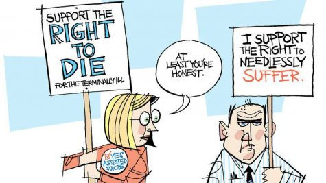 This political cartoon represents both sides of the death with dignity argument.