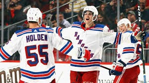 Brandon Crawley celebrates his first goal with the Rangers at the Prudential Center on Sept. 23, 2017.