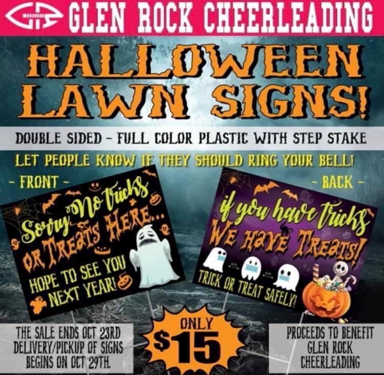 Glen Rock cheerleaders provide way to communicate trick-or-treating status.
