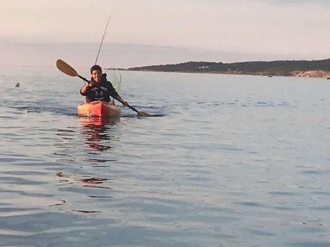 Student-council president Connor Cunningham spent much of his summer participating in outdoor activities. Here he can be seen kayaking off the coast of Martha