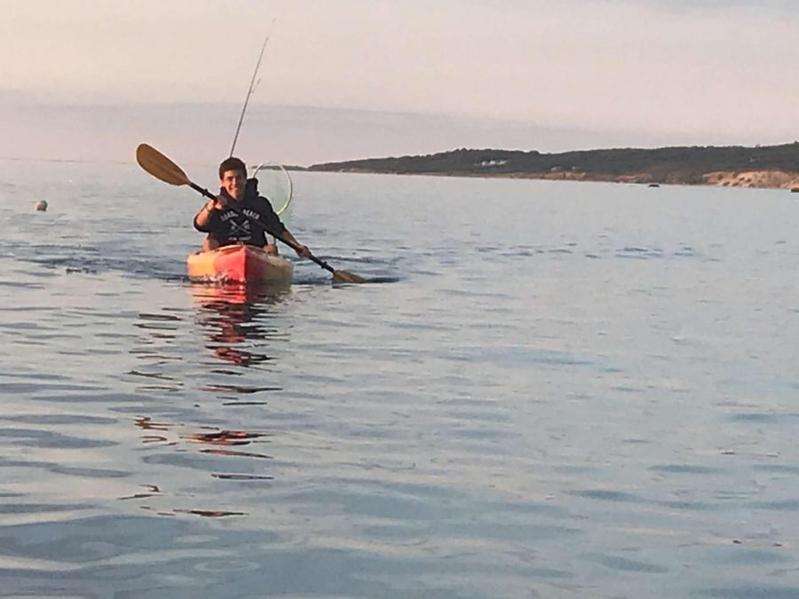 Student-council president Connor Cunningham spent much of his summer participating in outdoor activities. Here he can be seen kayaking off the coast of Martha's Vineyard.