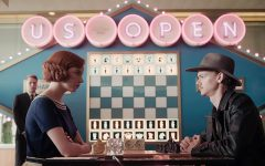 The Queens Gambit delivers pleasing cinematography throughout the series, as depicted in this still moments before protagonist Beth Harmon and competitor Benny Watts play chess at the US Open.